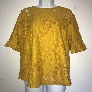 Monteau Cotton Mustard Yellow Lace Top XL